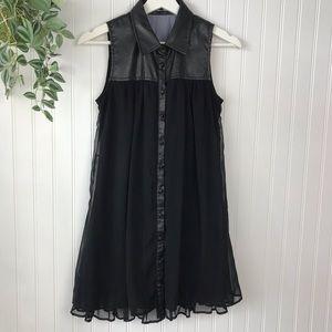 Doe & Rae Black Chiffon Tunic Dress Button Front
